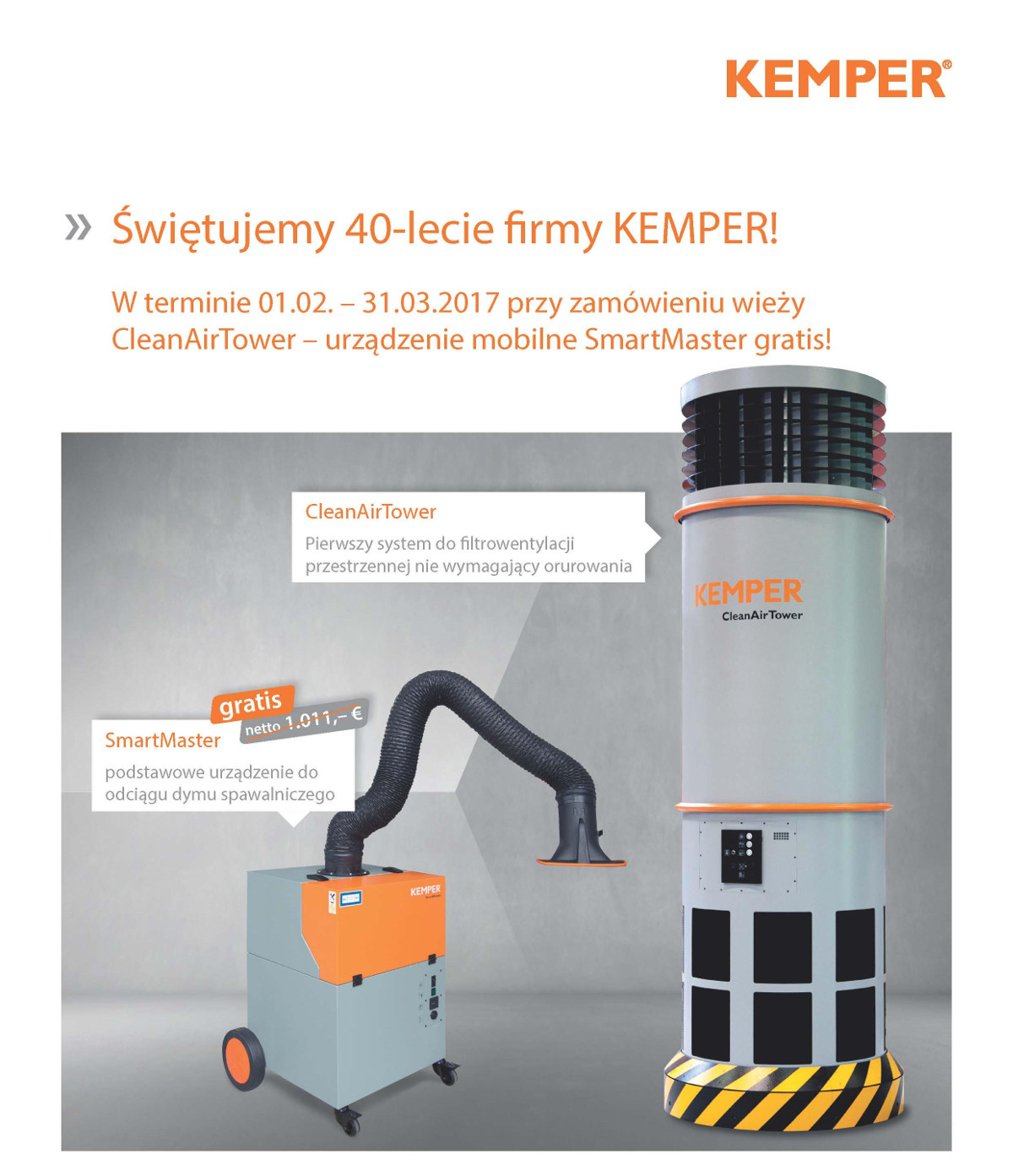 KEMPER wieża filtracyjna promocja 40-lecie firmy