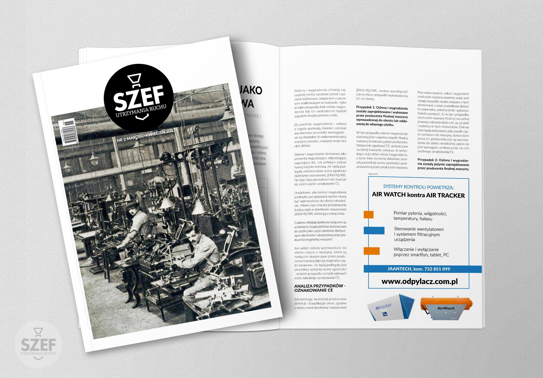 Reklama systemów kontroli powietrza na łamach czasopisma Szef utrzymania ruchu
